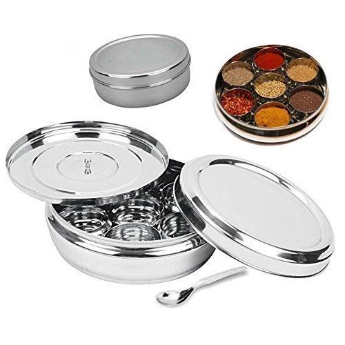 Masala Box, Edelstahl Edelstahl Spice Box indischen Masala Dabba mit 7Gewürzdosen, Löffel und doppeltem Deckel hält Gewürze Frisch Spice Rack Paket