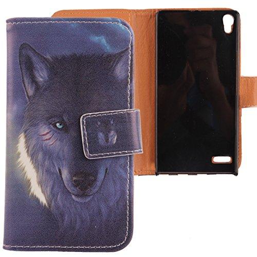 Lankashi PU Flip Leder Tasche Hülle Case Cover Schutz Handy Etui Skin Für Huawei Ascend P6 Wolf Design