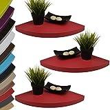 Set de 3 rinconeras / estanterías / baldas - con soporte oculto - alta fuerza portante - 35x35x3,4 cm - Rojo