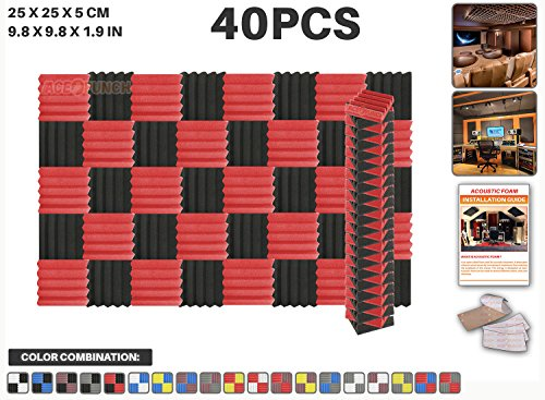 ace-punch-40-pcs-red-and-black-wedge-studio-foam-panel-sound-insulation-acoustic-treatment-soundproo