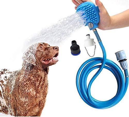 Beinhome Animali Domestici testa-Gamba Home doccia doccetta hundedusch testa con spazzola, 2,5m tubo flessibile in PVC, massaggio e doccia per cani e gatti