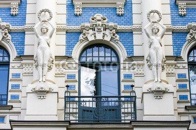 Leinwand-Bild 80 x 50 cm: 'Jugendstil house in Riga, Latvia', Bild auf Leinwand