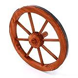 Nexos Holzrad Wagenrad Dekorad Holz Wagen Deko Rad mm rot braun Gartendeko (350 mm)
