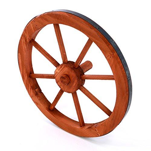 Nexos Holzrad Wagenrad Dekorad Holz Wagen Deko Rad mm rot braun Gartendeko (500 mm)