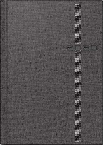 rido/idé 702181280 Buchkalender Chefplaner (1 Seite = 1 Tag, 145 x 206 mm, Kunstleder-Soft Cover-Einband Denim, Kalendarium 2020) grau