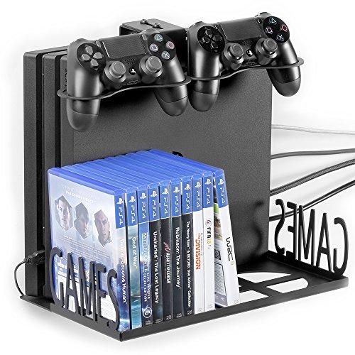 GameVspaceSwap Vertikale Unterstützung für PS4, PS4 Slim und PS4 Pro, Xbox One X und One S, mit Kühlventilatoren   Platz für Zwei 2 Controller und 22 Spiele   Schwarz