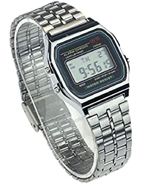 Culater® Retro Herren Damen Luxus Edelstahl digital Uhr Armbanduhren Stoppuhr Silber