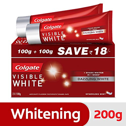 Colgate Visible White Dazzling White Toothpaste, Sparkling Mint - 200gm (Saver Pack)