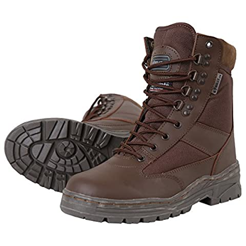 Kombat UK Men's Leather/Half Cordura Patrol Boots 9, Mod Brown, Size 9