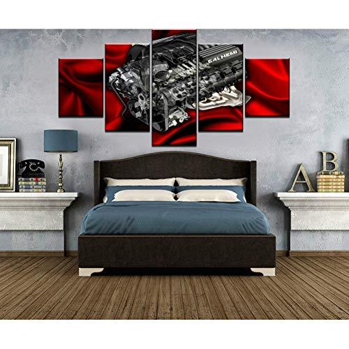 IBIZHI Wandgemälde Modulare Bild 5 Stücke Hd Gedruckt Wandkunst Leinwand Malerei 6 4L Hemi Motor Leinwand Wandkunst Wohnkultur Für Wohnzimmer