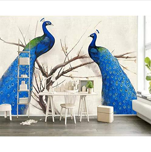 kleber Wandbilder Dekorationen Wand Pfau Landschaftshintergrund Mit Zwei Blauer Kunst Kinder Zimmer (W) 300X(H) 210Cm ()