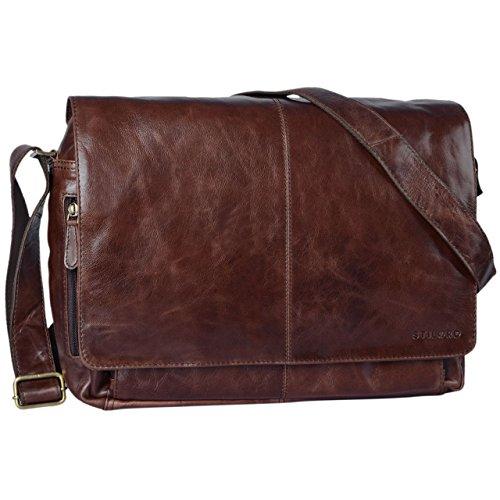 STILORD \'Alex\' Vintage Ledertasche Männer Frauen Businesstasche zum Umhängen 15,6 Zoll Laptoptasche Aktentasche Unitasche Umhängetasche Leder, Farbe:schokoladen - braun