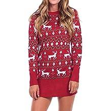 14f59acea4b Longra Weihnachten Kleider Damen Strickkleid im schönen Norweger-Muster  Pullover Kleider mit Weihnachts-Motiv
