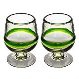Cognacglas - Gemischtes Grün - Set aus 2 Gläsern