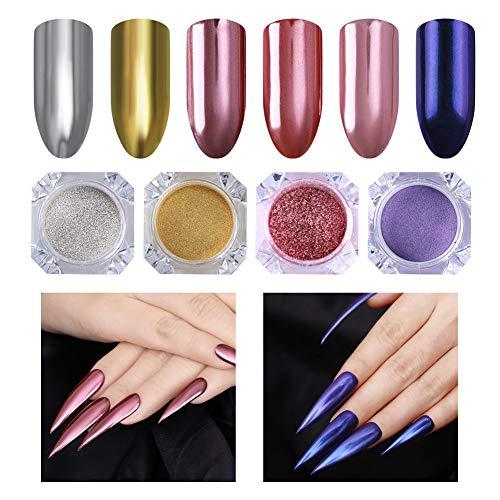 NICOLE DIARY Mirror Powder Violet Mermaid Pearl Nail Glitter Or Argent Rouge Nail Art Chrome Pigment Manucure Poudre Kit Decoraion (4 boîtes/jeu)