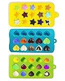 Joyoldelf 3 Stück Süßigkeit Formen & Eiswürfelbehälter mit 3 Dropper für Schokolade - Herzen, Sterne und Muschel - Silikon Schokoladenform - Spaß, Kinder Spielzeug Set - Für Kuchen, Schokolade, Eis, Törtchen, Muffins, Kerzen, Seifen