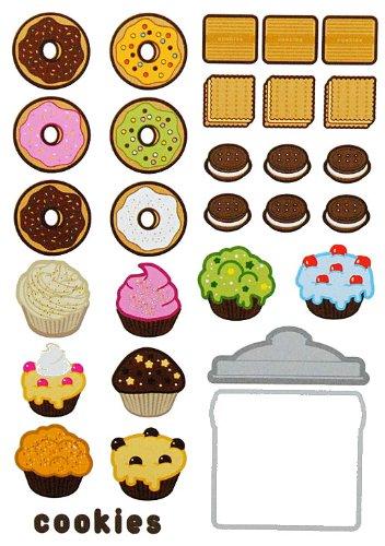 Unbekannt 29 TLG. Set XL Wandtattoo Süßigkeiten - Wandsticker Brownies Brownie Donut Aufkleber Wandaufkleber - selbstklebend für Wohnzimmer und Kinderzimmer Deko Sticke