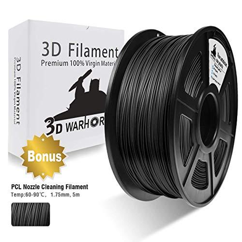 3D Warhorse PLA Wood 1,75 mm Filamento per Stampante 3D 1 KG, Bonus con Filamento per Pulizia Ugelli