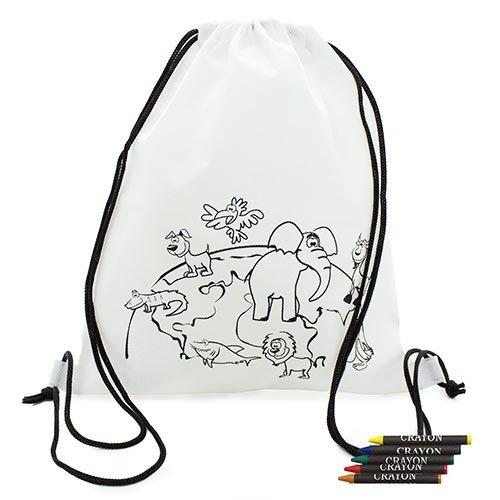 '10x Rucksäcke für Kinder Malen mit Farben Safari-Rucksäcke petates mit Wachsmalstifte, ideal für Schulen, Kindergärten, Details und Kommunionen und Hochzeiten Kinder-Geschenke