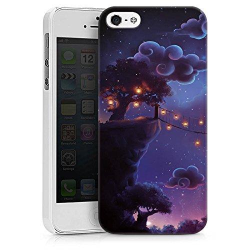 Apple iPhone X Silikon Hülle Case Schutzhülle Fantasie Wolken Nacht Hard Case weiß