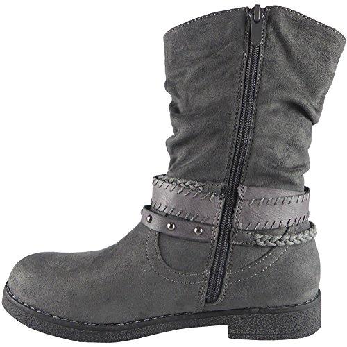 Da donna Studs medio Vitello Piatto Caviglia Boots Dimensione 36-41 Grigio