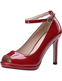 Atyche Damen Peeptoes Stiletto High Heels Sandalen mit Plateau und Schnalle  Lack Riemchenpumps Büro Arbeit Schuhe 8ed3a140d5