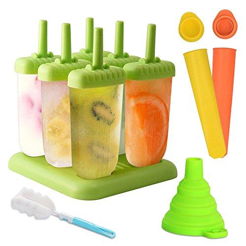 Molde para helados, Molde de polo de helado de 6 celdas + molde de silicona 2, Libre de BPA y reutilizable, Cepillo de limpieza y plegable embudo