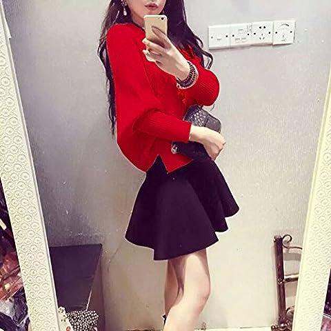 Spritech (TM)-Felpa invernale da donna, maniche a pipistrello, lavorato a maglia larga spacco laterale, Rosso, L
