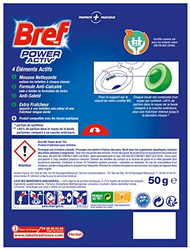 Bref WC Power Activ Pin 50g - Blocs Nettoyants WC - Lot de 5