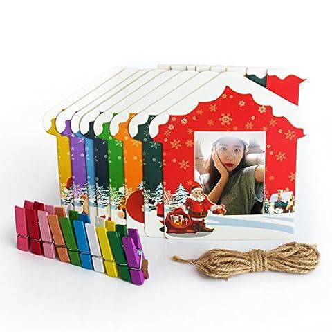 Woodmin 3- Zoll bunte Wand-Dekor hängend Kombinationsrahmen für Instax mini / Pringo P231 / SP 1 / Polaroid PIC-300P / Polaroid Z2300 Films (Weihnachten)