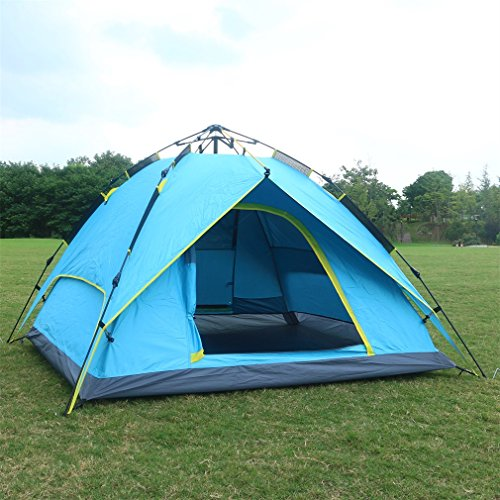Automatic Pop Up Tent Backpacking Tents OUTAD for Outdoor Sports Camping Hiking Travel Beach with Carrying Bag for 3 or 4 Person (Sky blue)