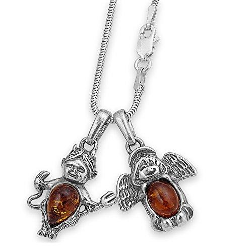 Silber Schlangenkette mit zwei Bernstein Kettenanhänger Teufelchen Teufels-hörnern & Mädchen Engel Schmuckanhänger + Schmucketui #1376