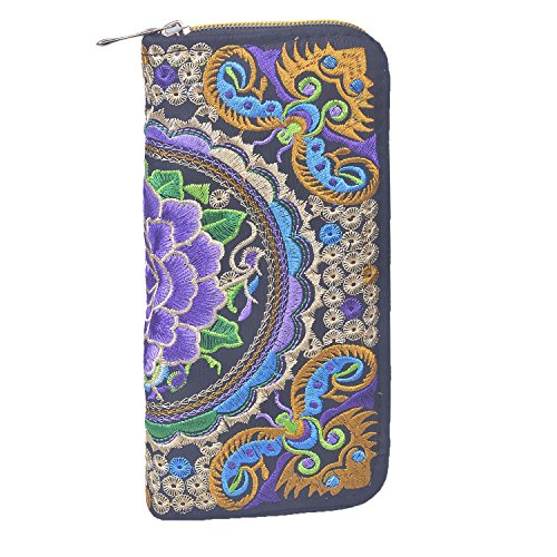 Larcenciel Lady Wallet Clutch handgemachte gestickte Lange Brieftasche Zipper Handtasche (Purple Peony Butterfly) - Canvas Gestickte Handtasche