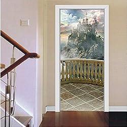 Namefeng Balkon Landschaft Schlafzimmer Tür Renovierung Wandaufkleber Selbstklebende Hauptabziehbilder DIY Türaufkleber 77X200Cm