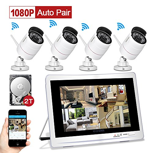 YESKAMO Wireless CCTV Home Security Camera Systems with 12″ LCD HD Monitor 4pcs 1080P Wifi IP Cameras 2.0 Megapixel Outdoor Video Monitoring Surveillance Kits Pre-installed 2TB HDD for Recording