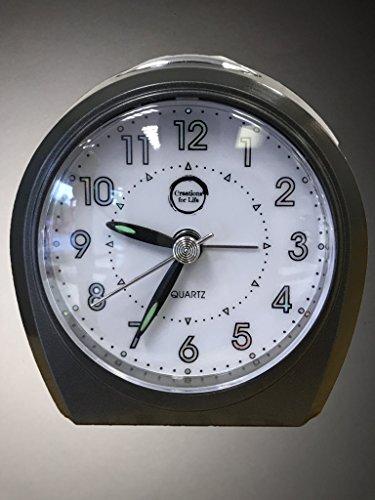 Reloj de alarma silencioso (sin tic) con calidad de cuarzo, en color negro para oficina, viajar, hogar, etc
