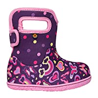 BOGS Baby Girls Waterproof Insulated Crib Shoe, Rainbows-Purple Multi, 4 Infant