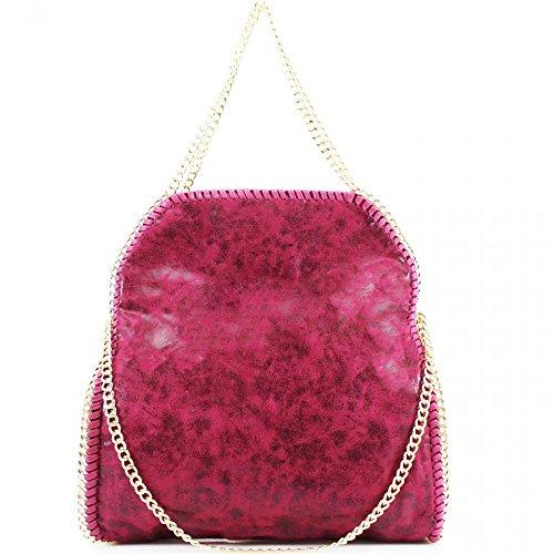 LeahWard® Damen Groß Kette Tote Foldable Weich Handtaschen Schultertasche Groß Tasche PLUM Rot H64cm x W40cm x D13cm