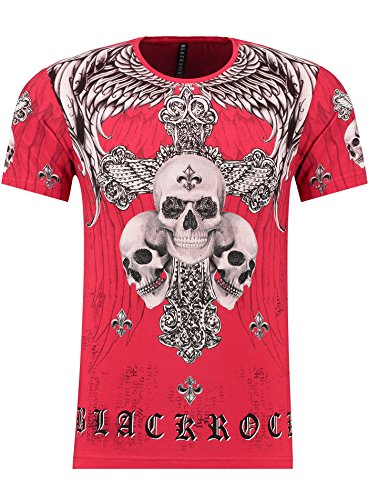 BlackRock Herren T-Shirt Slim-Fit Totenkopf Skull Bones Adler Elasthan 71308 - RED
