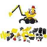 Little Treasures Construction Vehicle Excavator Tractor Loader Backhoe Digger Building Bricks Toys Set For Kids 59-Pieces (EXCAVATOR)
