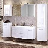 Lomadox Komplett Badmöbel Set in Hochglanz weiß ● 120cm Waschtisch mit Unterschrank inkl. Waschbecken ● 3D Spiegelschrank mit 2 LED-Leuchten & Steckdose ● Hochschrank, Unterschrank & Hängeschrank