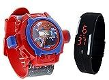 Pappi-Haunt Calidad Garantizada – Juguetes Especiales para niños – Pack de 2 – Spiderman proyector Banda Reloj + Jelly Slim Negro Digital LED Banda Reloj para niños, niños