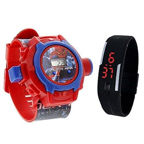 Pappi-Haunt Calidad Garantizada – Juguetes Especiales para niños – Pack de 2 – Spiderman proyector Banda Reloj + Jelly Slim Negro Digital LED Banda Reloj para niños, niños 12