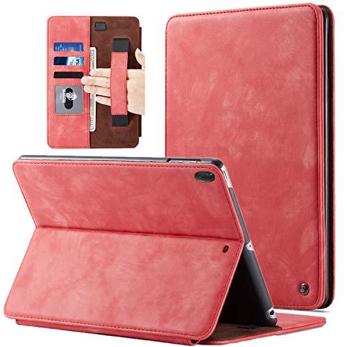 BELKA iPad Pro 11 Zoll 2018 Hülle, Case für iPad Pro 11 2018 Luxus Leder Flip Cover mit Stifthalter Handschlaufe Kartensteckplätze Hard Back Cover Kompatibel für Apple iPad Pro 11 Zoll, Rot -