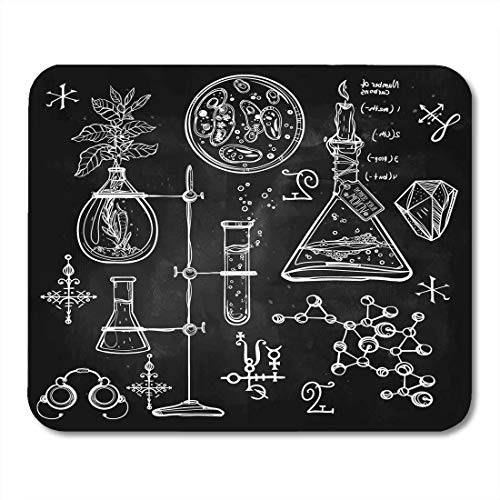 Deglogse Gaming-Mauspad-Matte, Linear Laboratory Vintage Lab Science Objects Doodle Sketch Back to School Alchemy Occult Chemistry Mouse Pad - Alchemy Lab