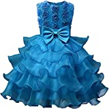 Eudolah Vestito da ragazza con increspature in tulle con perla per la cerimonia di sera Blu 120