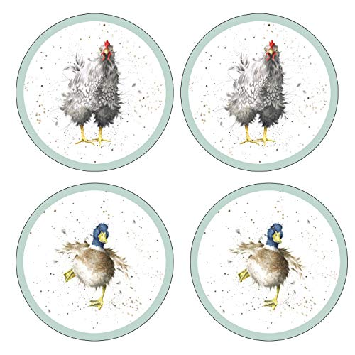 Wrendale Designs Farmyard Feathers Round Untersetzer 4 Stück (m) Royal Worcester Fine Porcelain