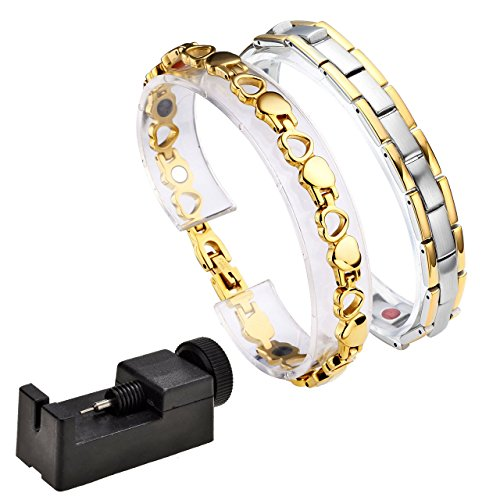 JOVIVI Schmuck Magnet Partnerarmbänder aus Edelstahl Rechteck Herz Armband 4-in-1 Magnettherapie Magnetisches Armreif Paar Armbänder