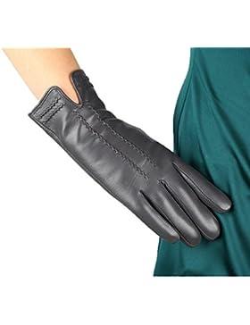 DIDIDD Guantes de las señoras, las manos vuelven a abrir, la moda más gruesa,Gris,X-Large