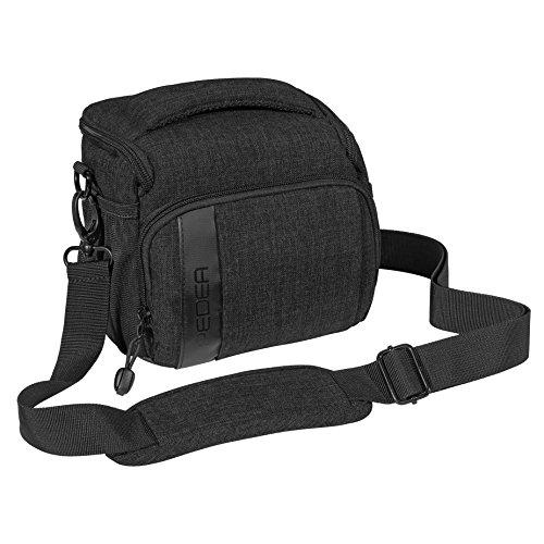 """PEDEA SLR-Kameratasche \""""Fashion\"""" Schultertasche Messenger Kameratasche Umhängetasche Kamera Tasche mit Regenschutz, Tragegurt und Zubehörfächern, Gr. L schwarz"""